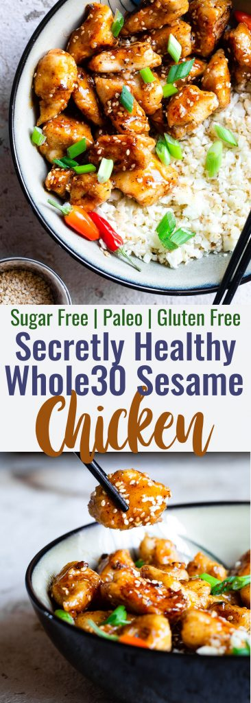 Easy Whole30 Sesame Chicken -This paleo friendly, and sugar/grain/dairy and gluten freeCRISPY Sesame Chicken tastes just like takeout but is SO much better for you! Aquick dinner that the whole family will love! | #Foodfaithfitness | #Glutenfree #Paleo #Whole30 #Sugarfree #Healthy