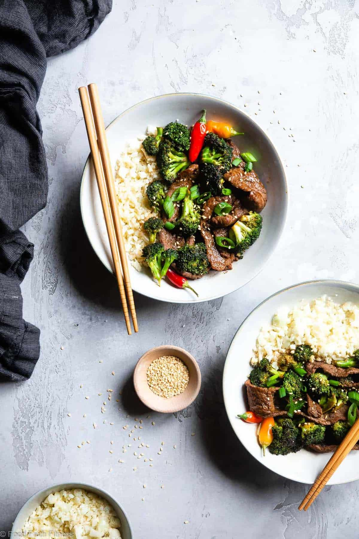 Easy Whole30 Low Carb Beef and Broccoli - This low carb stir fry is an EASY, one-pot weeknight meal that even picky eaters will love! So much yummier and healthier than takeout too! | #Foodfaithfitness |