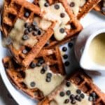 Eggnog Gluten Free Vegan Waffles with Chocolate Chips