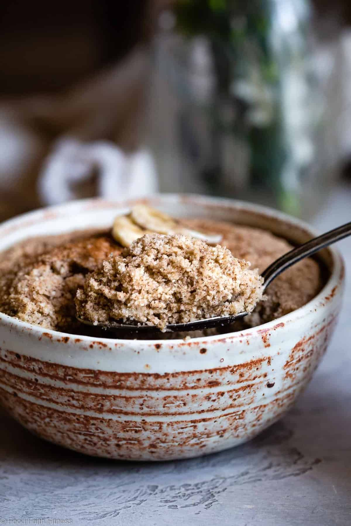 Easy Gluten Free Banana Bread Mug Cake - Want banana bread right now? Yes you do! Make this 5 minute, healthy, gluten free and paleo friendly banana bread in a mug! No waiting to cool nonsense! | #Foodfaithfitness | #Glutenfree #paleo #grainfree #bananabread #healthy