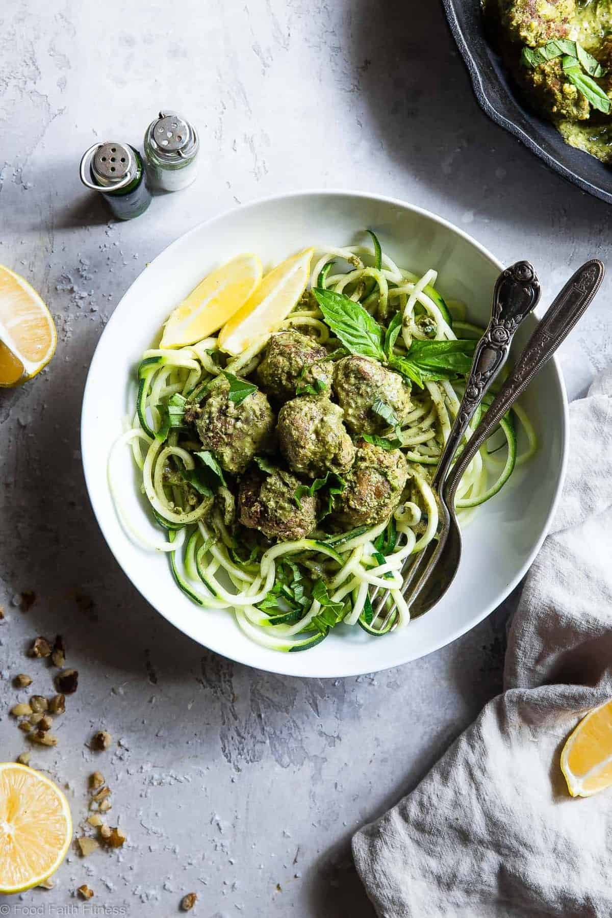 Gluten Free Whole30 Paleo Turkey Meatballs with Pesto Cream Sauce - These healthy whole 30 meatballs are simmered in a coconut milk basil pesto cream sauce for an easy, weeknight meal that is keto and paleo friendly and so tasty! | #Foodfaithfitness |