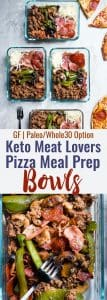 Keto Low Carb Pizza Meal Prep Bowls - These easy meal prep bowls areperfect for both kids and adults to pack for lunches! Gluten free, healthy and paleo and whole30 compliant too! Dairy free option included. | #Foodfaithfitness | #Glutenfree #keto #lowcarb #whole30 #mealprep