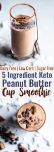Peanut Butter Chocolate Keto Low Carb Smoothie -An EASY 5 ingredient breakfast that tastes like a peanut butter cup! It's Gluten/dairy/sugar free, paleo friendly, SO creamy and packed with plant based protein too!   #Foodfaithfitness   #Glutenfree #paleo #keto #lowcarb #sugarfree