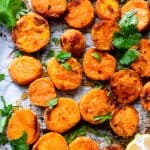 Tahini Maple Roasted Sweet Potatoes