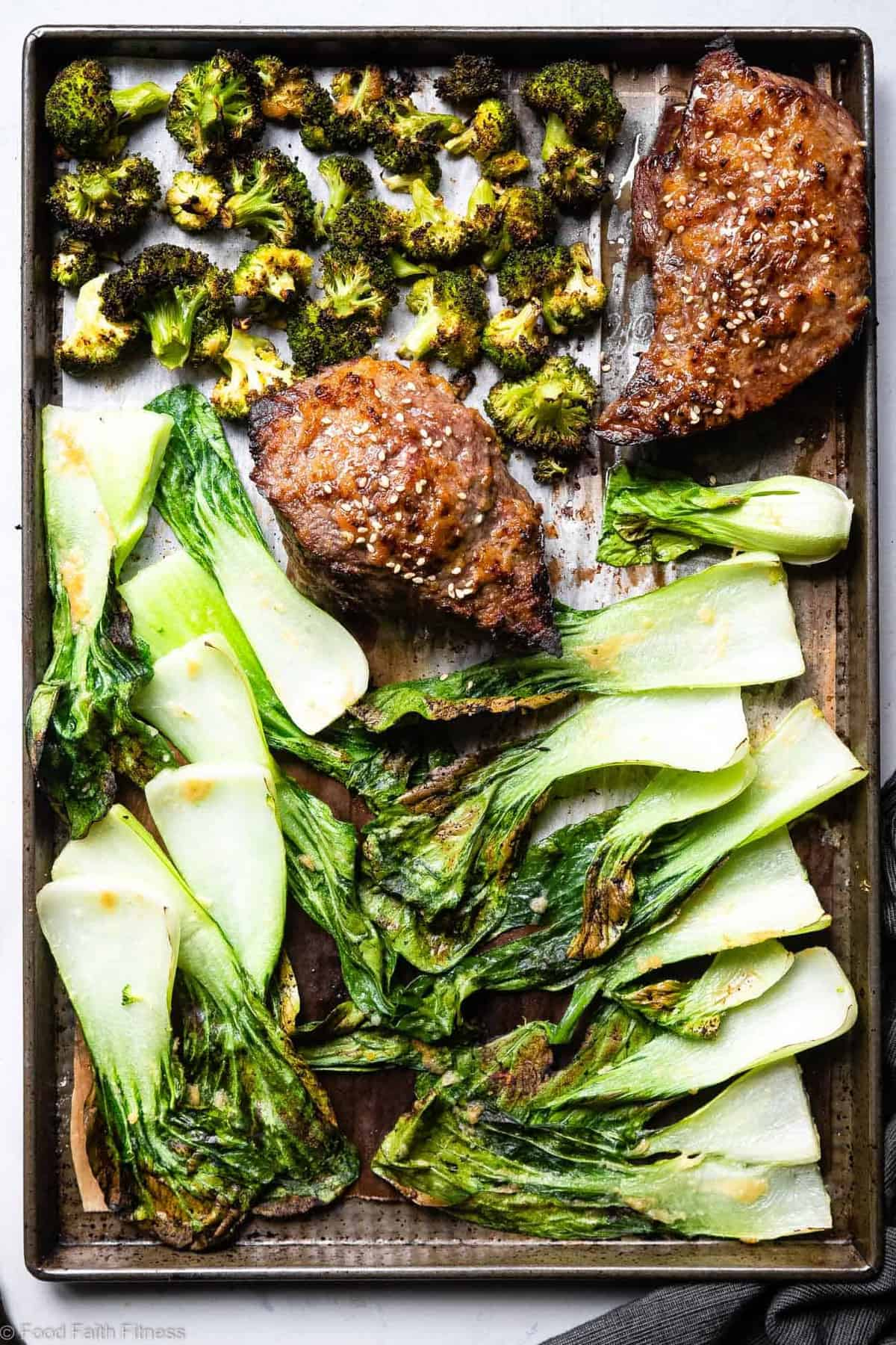 Asian Miso Steak Sheet Pan Dinner - This Sheet Pan Dinner is an EASY weeknight meal with bold, Asian flavor! This is a healthy, low carb and keto dinner that you will make over and over! Guaranteed to please a crowd! | #Foodfaithfitness | #Glutenfree #Keto #Lowcarb #Healthy #Asian