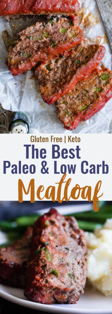 easy low carb paleo meatloaf collage photo