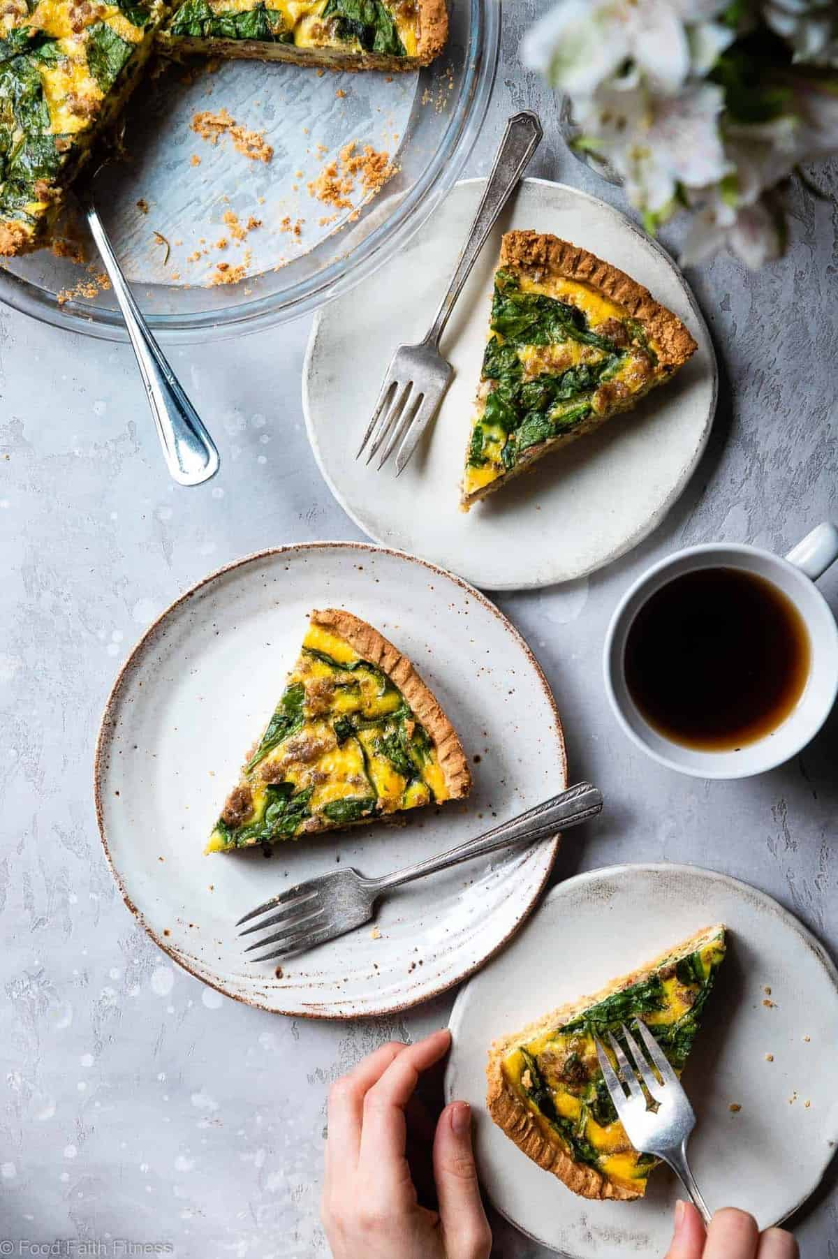 Gluten Free Low Carb Breakfast Quiche - This EASY low carb, dairy free and paleo Quiche has a homemade, buttery, flaky Almond Flour Crust! Sausage, spinach and eggs make a high protein, filling breakfast!  Great for meal prep! | #Foodfaithfitness |