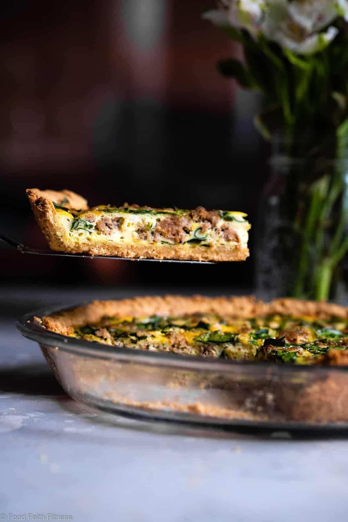 Gluten Free Low Carb Quiche - This EASY dairy free and paleo low carb spinach Quiche has a homemade, buttery, flaky Almond Flour Crust! Sausage, spinach and eggs make a high protein, filling breakfast!  Great for meal prep! | #Foodfaithfitness | #Glutenfree #Lowcarb #Keto #paleo #dairyfree