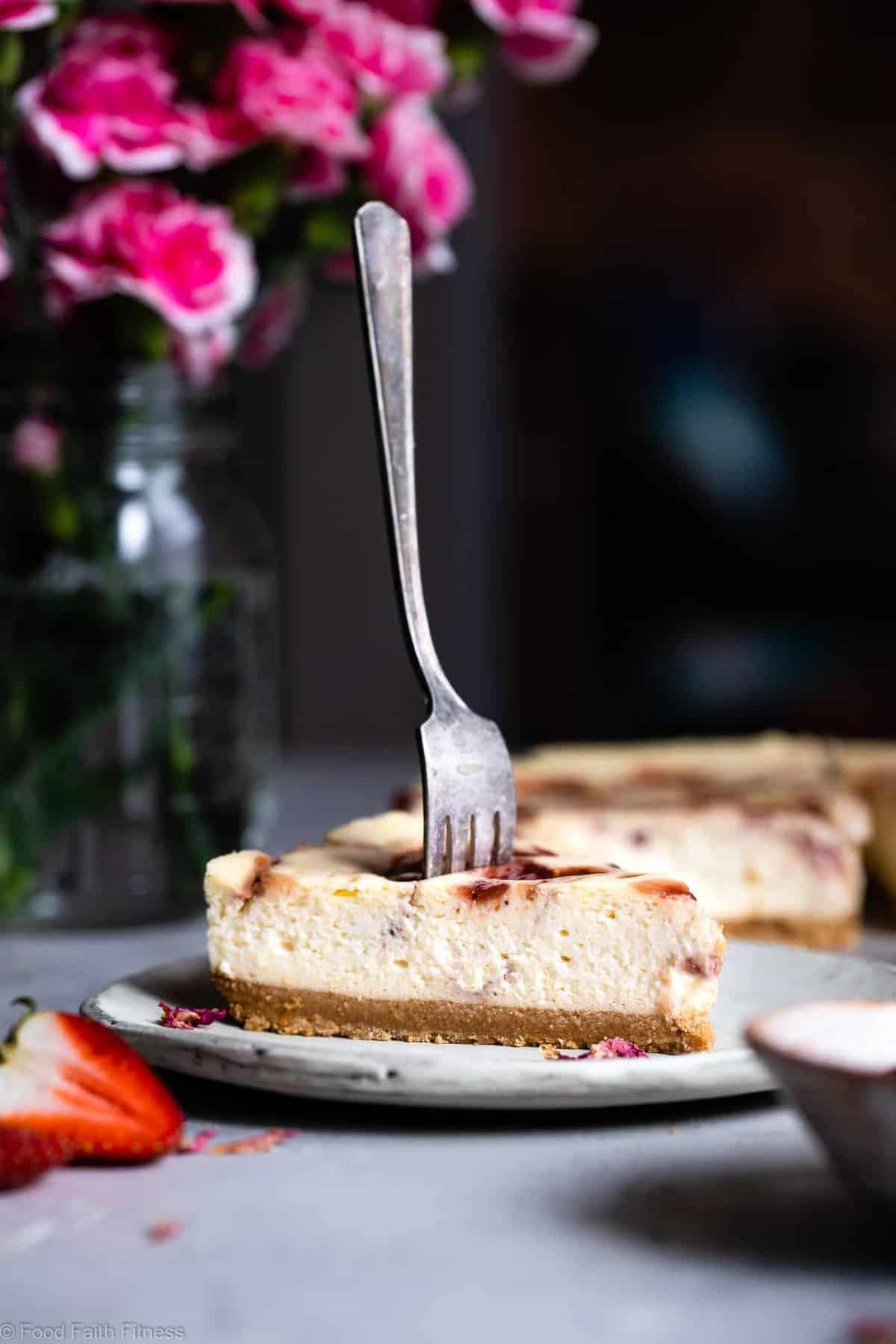 Gluten Free Strawberry Swirled Cottage Cheese Cheesecake -This Healthy Cottage Cheese Cheesecake is packed with protein and is so easy to make! Gluten free, grain free, better for you and SO creamy! | #Foodfaithfitness |