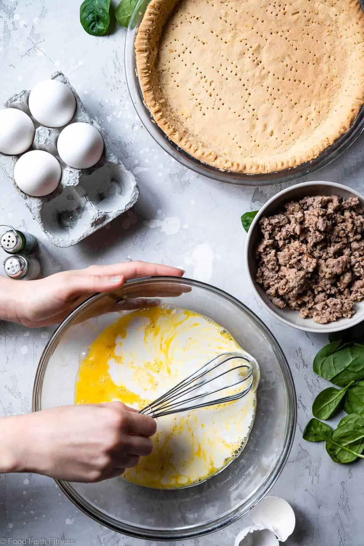Gluten Free Low Carb Quiche Recipe - This EASY low carb, dairy free and paleo Quiche has a homemade, buttery, flaky Almond Flour Crust! Sausage, spinach and eggs make a high protein, filling breakfast!  Great for meal prep! | #Foodfaithfitness |