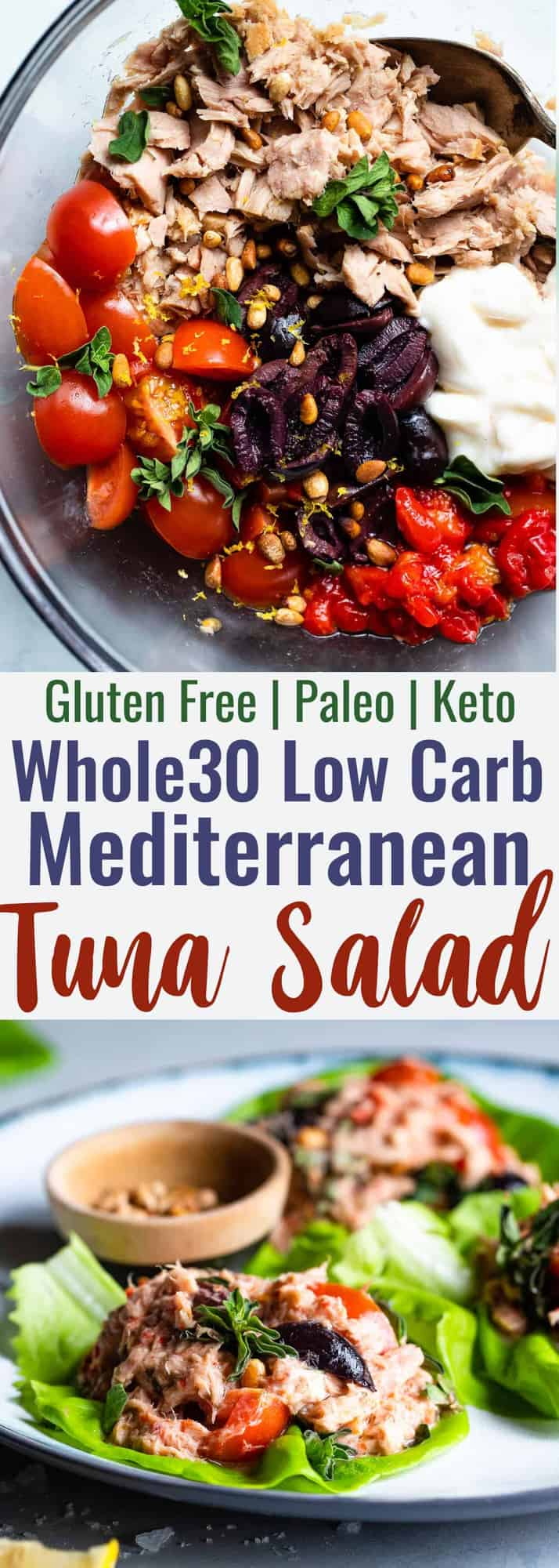 Paleo Mediterranean Tuna Salad with Olives -  A quick and easy recipe that is great for meal prep and lunches! Gluten free, low carb, keto and whole30! | #Foodfaithfitness | #Glutenfree #Paleo #Keto #Lowcarb #Whole30