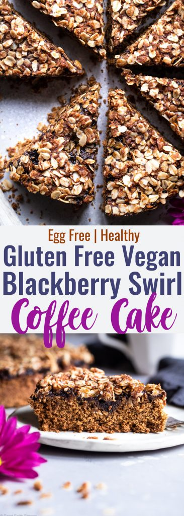 Gluten Free Vegan Coffee Cake -This tender, moist Gluten Free Coffee Cake has a tasty blackberry swirl and is loaded with a crunchy, crispy crumble topping! It's sure to be a hit and does not taste healthy! | #Foodfaithfitness | #Glutenfree #Vegan #dairyfree #eggfree #healthy