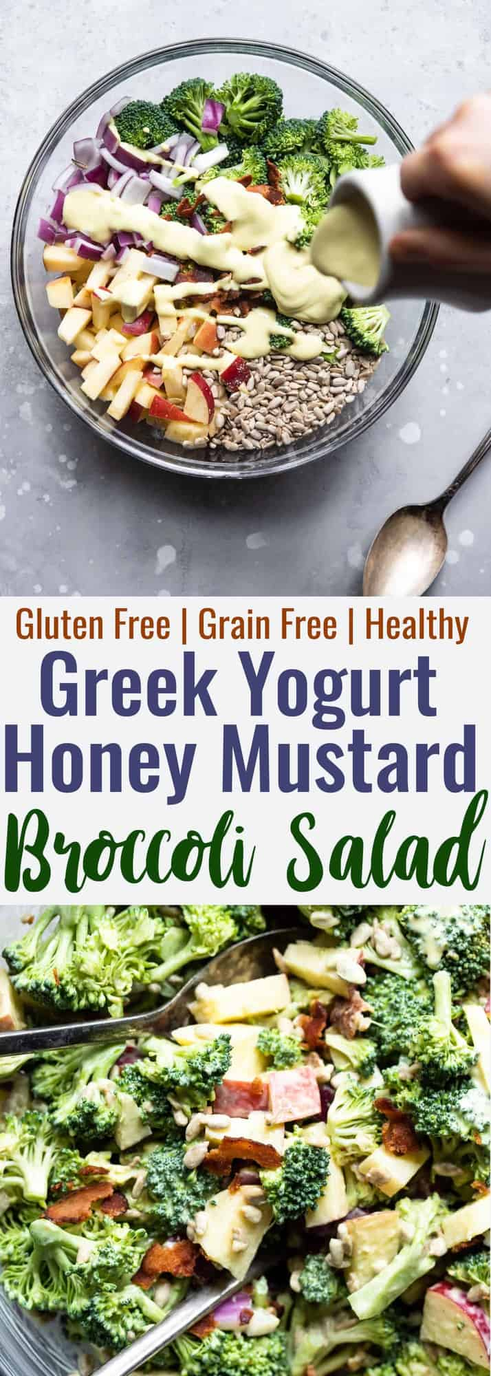 Honey Mustard Broccoli Apple Salad with Greek Yogurt  - An easy, gluten free and healthy side dish that even kids will like! It's protein packed and makes great leftovers! | #Foodfaithfitness | #Glutenfree #Grainfree #Healthy #GreekYogurt