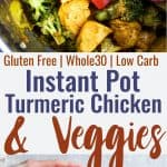 Keto Instant Pot Turmeric Chicken and Vegetables -  a 300 calorie, easy, quick and healthy meal with bold flavor and anti-inflammatory properties! It's paleo friendly, whole30 and low carb too! | #Foodfaithfitness | #Paleo #Whole30 #Lowcarb #Glutenfree #Instant Pot