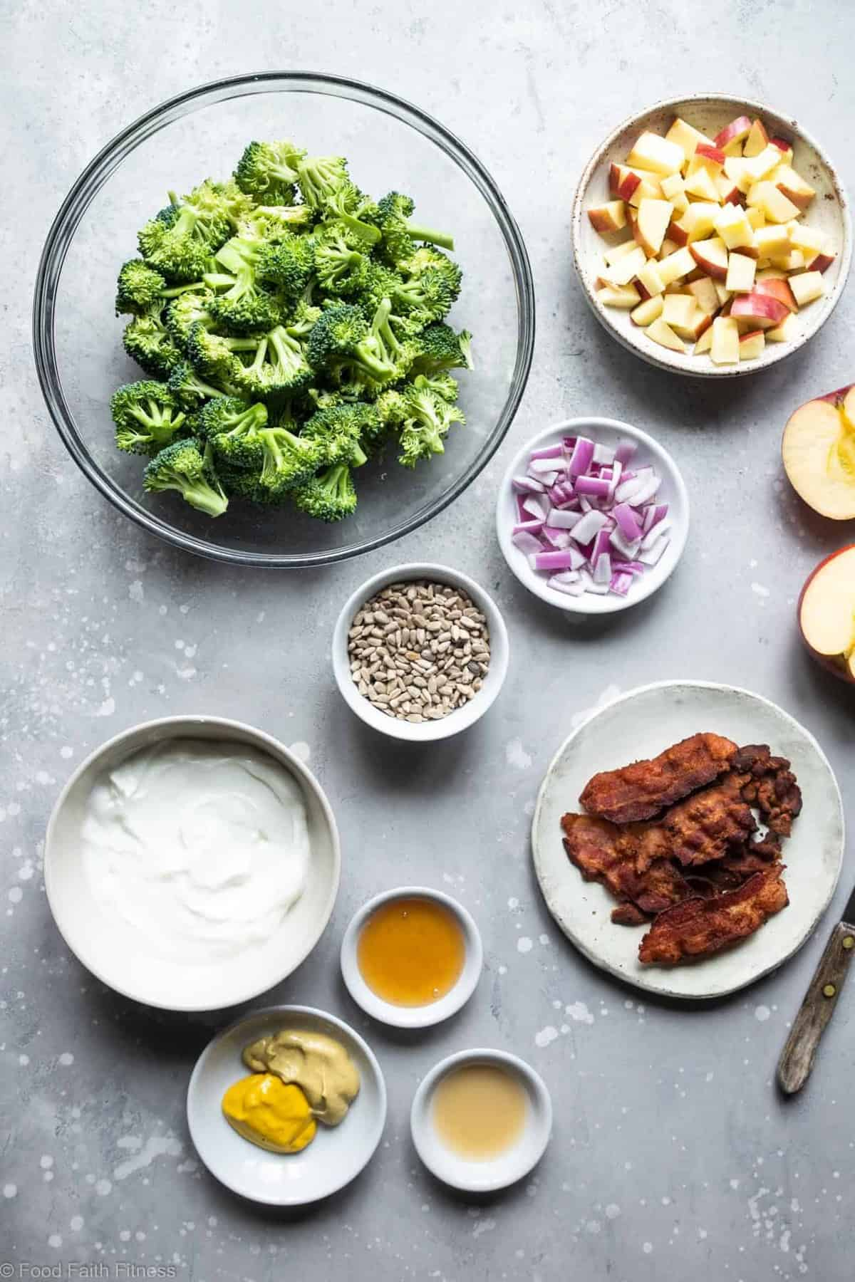 Healthy Broccoli Apple Salad with Greek Yogurt  - This broccoli and apple salad is an easy, gluten free and healthy side dish that even kids will like! It's protein packed and makes great leftovers! | #Foodfaithfitness |