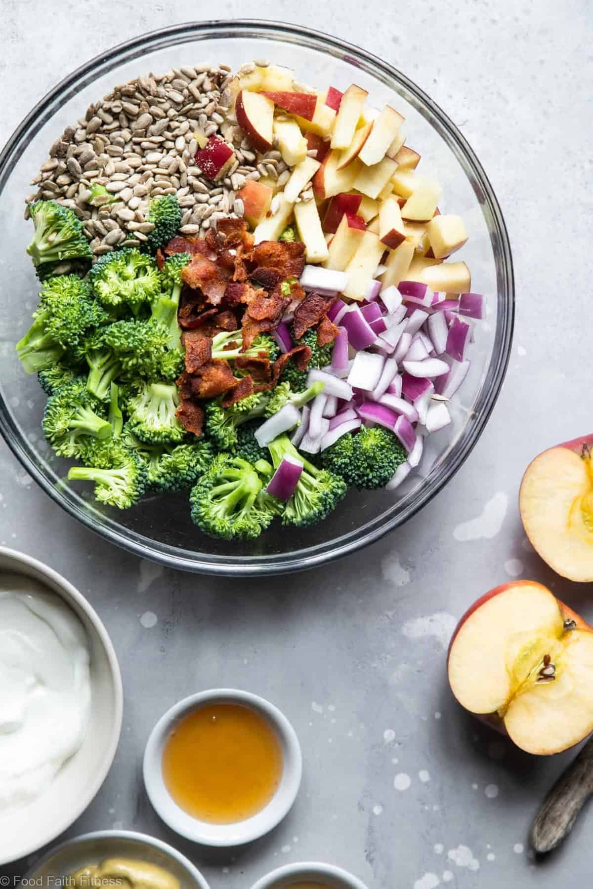 Healthy Broccoli Apple Salad with Greek Yogurt  - This Greek yogurt broccoli salad is an easy, gluten free and healthy side dish that even kids will like! It's protein packed and makes great leftovers! | #Foodfaithfitness |