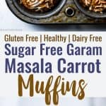 Sugar Free Gluten Free Oatmeal Carrot Muffins -These easy carrot muffins are naturally sweetened with dates andhave a surprise, spicy-sweet kick! SO light and fluffy! Gluten free, healthy and tasty! | #Foodfaithfitness | #Glutenfree #Dairyfree #Healthy #Sugarfree #Muffins