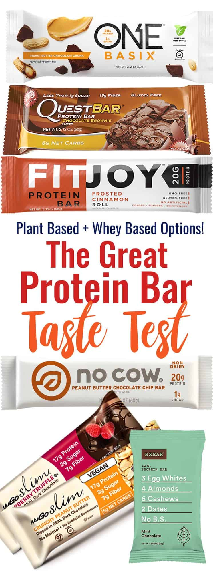 The Great Protein Bar Taste Test - We tasted 6 popular protein bars to make this protein bars review! Each are graded on taste and texture and include gluten free, plant based and whey protein bars. Come find out the best ones!   #Foodfaithfitness   #Nutrition #Healthy #glutenfree #plantbased #proteinbars