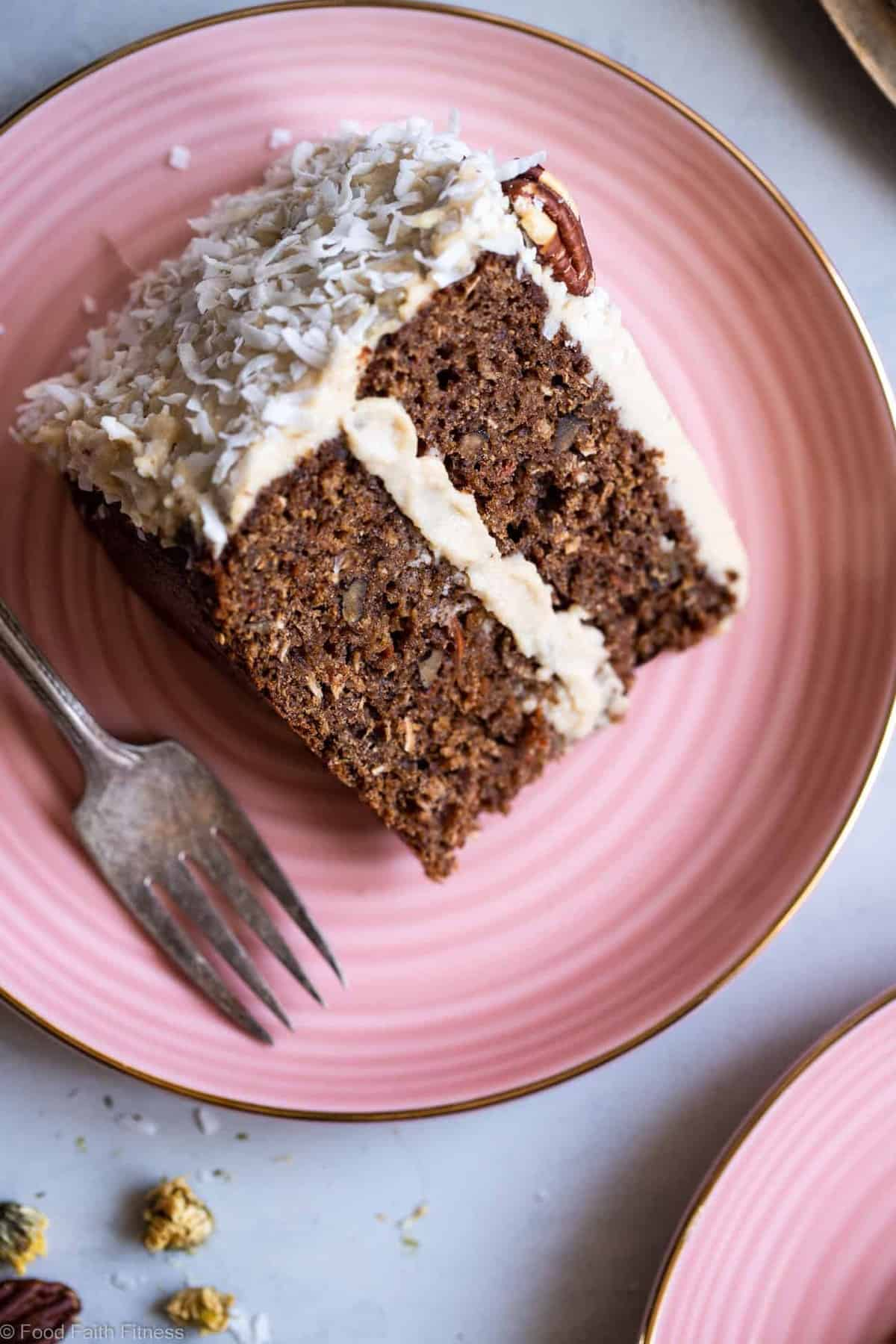 """Healthy Carrot Cake - This dairy, grain and gluten free, Paleo Carrot Cake with Almond Flour has a luscious cashew """"cream cheese"""" frosting and is easy to make! Always a hit with a crowd! 