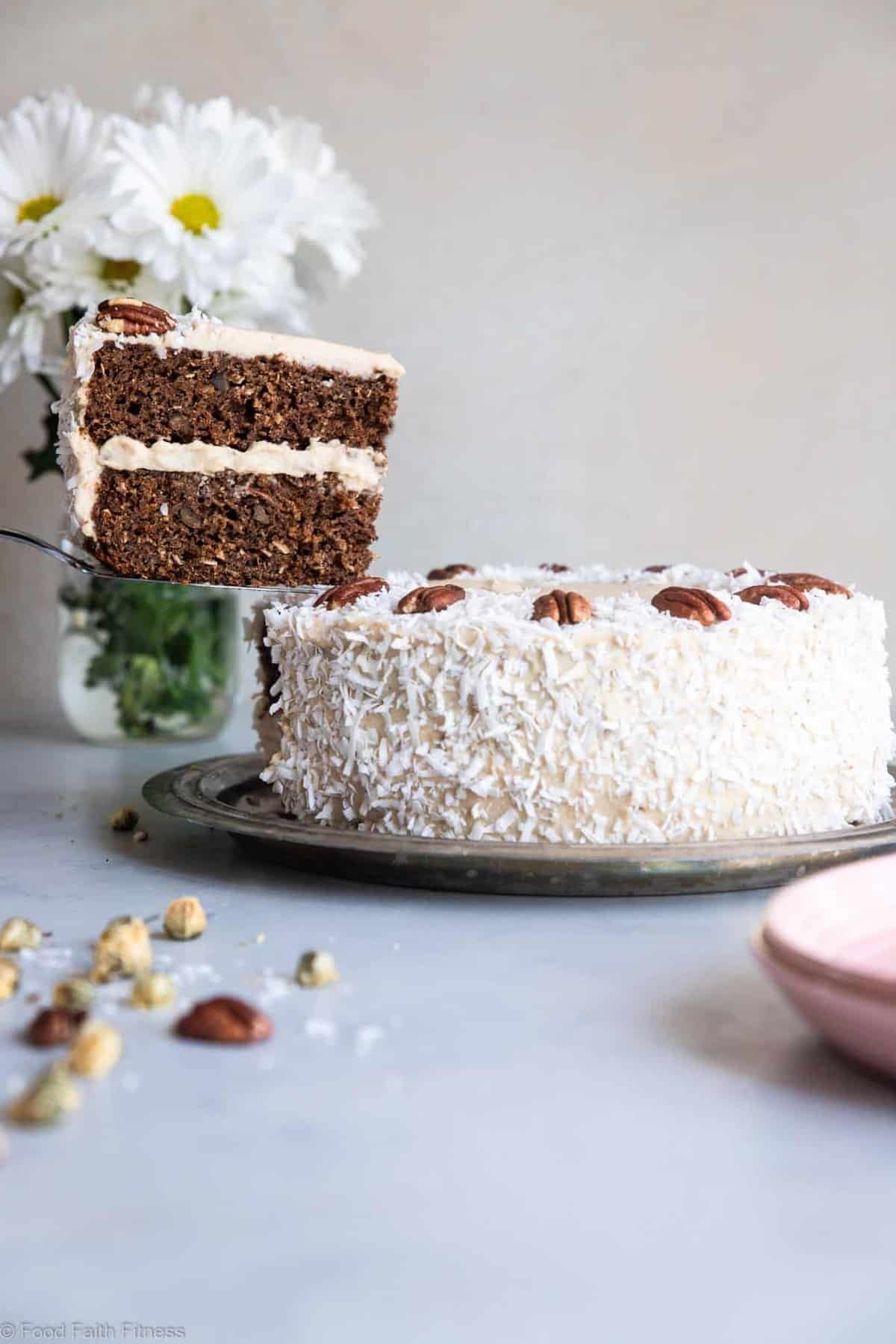 """Almond Flour Cake - This dairy, grain and gluten free, Paleo Carrot Cake has a luscious cashew """"cream cheese"""" frosting and is easy to make! Always a hit with a crowd! 