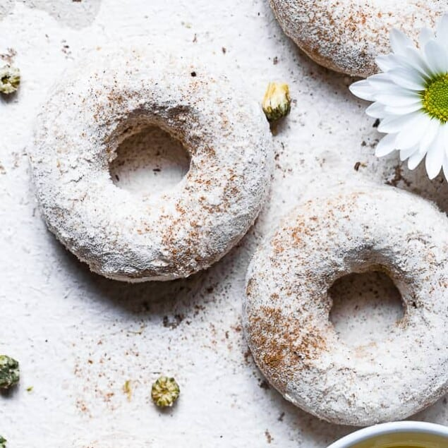 Cinnamon Baked Protein Donuts -This gluten free Healthy Protein Donuts Recipe is soft, fluffy and secretly protein packed! A perfect treat to curb your sweet tooth, and a dairy-free option is included! Great for kids and adults!   #Glutenfree #Dairyfree #Healthy #Donuts #Dessert