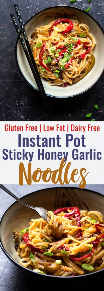 Honey Garlic Instant Pot Noodles - TheseAsian Instant Pot noodles are sticky, sweet and SO addicting! An EASY, gluten free dinner that even picky eaters will request!   #Foodfaithfitness   #glutenfree #InstantPot #healthy #dairyfree #vegetarian