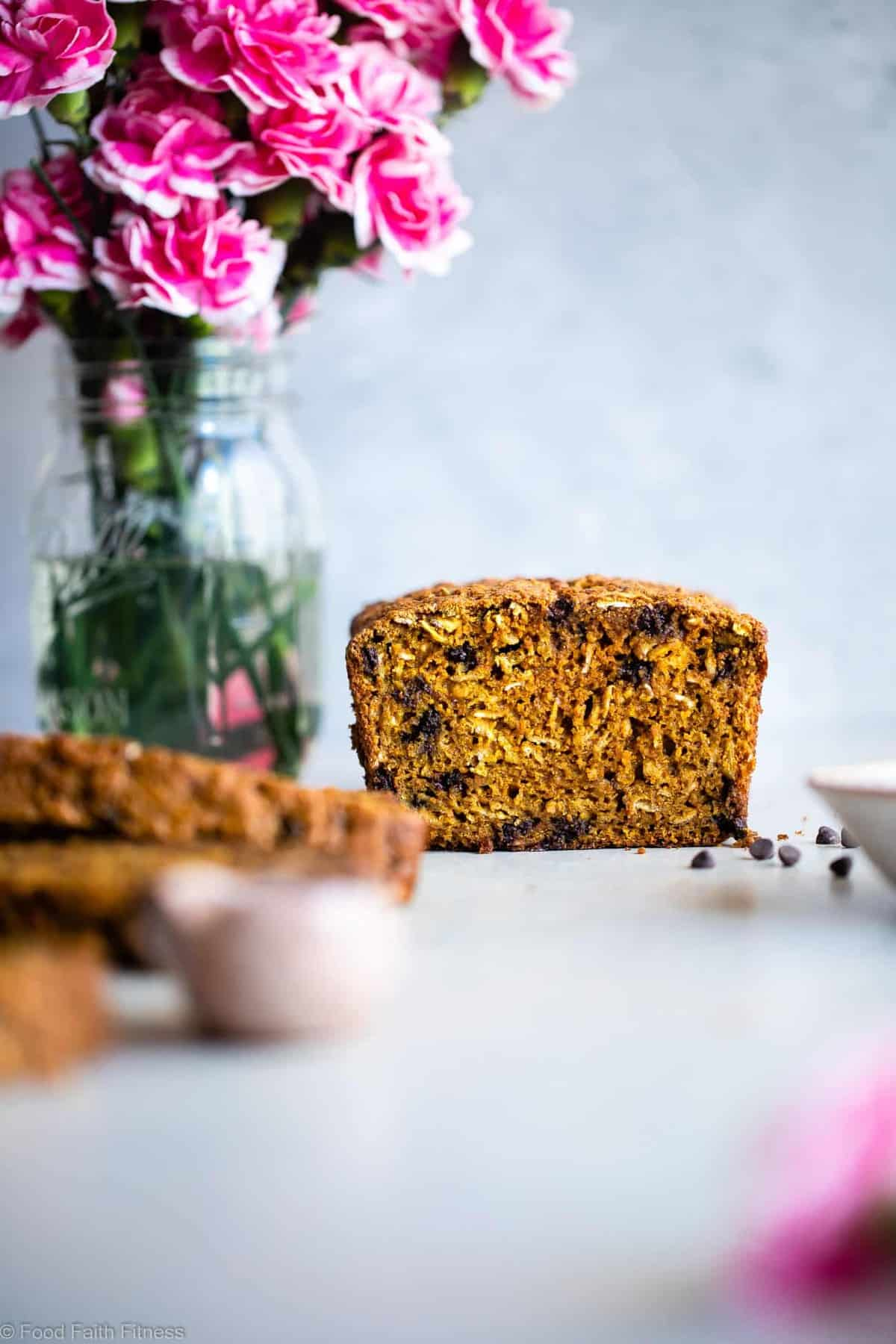 Gluten Free Turmeric Chocolate Chip Bread - This healthy turmeric bread is spicy-sweet and has melty chocolate chips! A gluten free and dairy free breakfast or snack that is anti-inflammatory! | #Foodfaithfitness |
