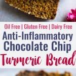 Gluten Free Turmeric Chocolate Chip Bread - This healthy turmeric oat flour bread is spicy-sweet and has melty chocolate chips! A gluten free and dairy free breakfast or snack that is anti-inflammatory! | #Foodfaithfitness | #dairyfree #glutenfree #turmeric #nutfree #anti-inflammtory