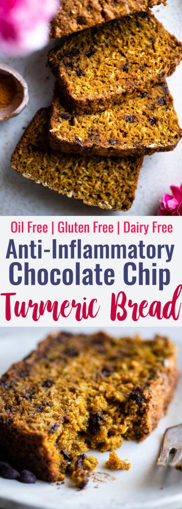 Gluten Free Turmeric Chocolate Chip Bread - This healthy turmeric oat flour bread is spicy-sweet and has melty chocolate chips! A gluten free and dairy free breakfast or snack that is anti-inflammatory! | #Foodfaithfitness | #dairyfree #glutenfree #turmeric #nutfree #anti-inflammtory