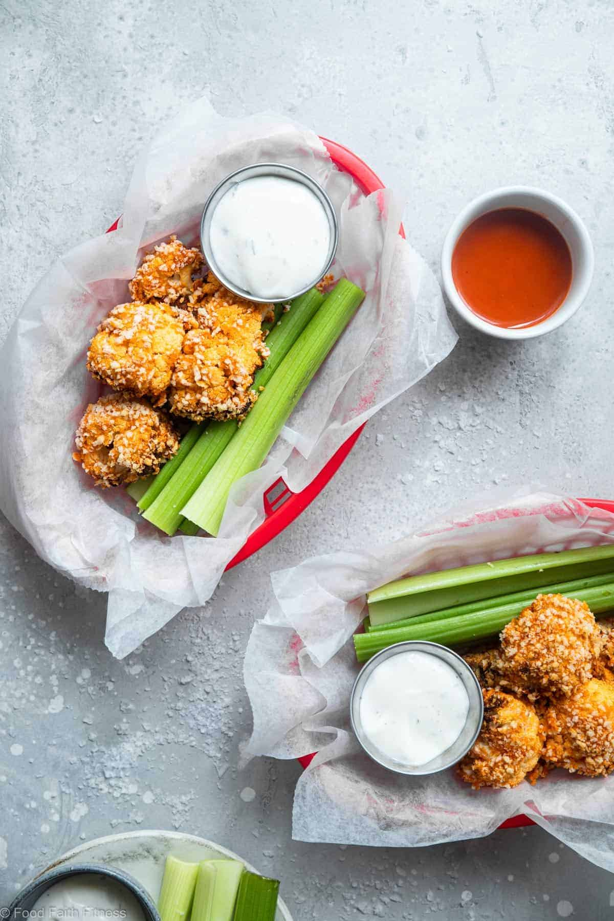 Buffalo air fried cauliflower in two baskets on a table