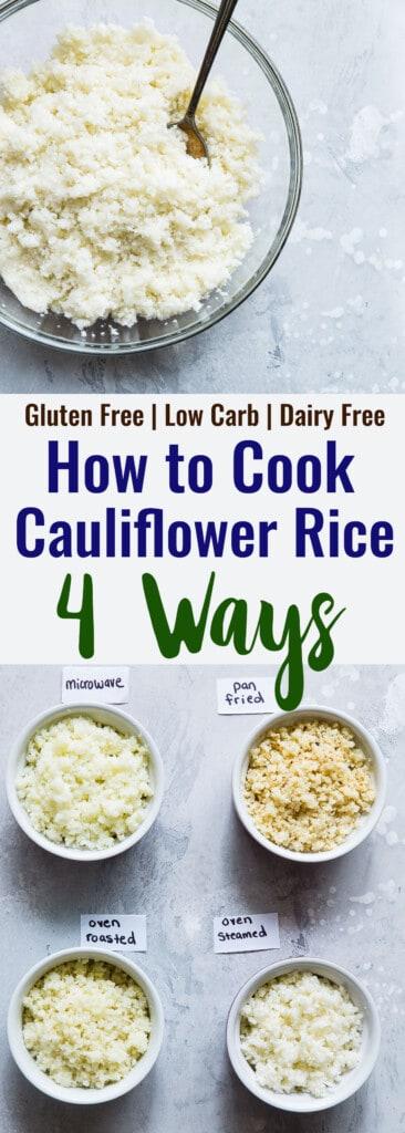 Hot to cook Cauliflower Rice collage photo