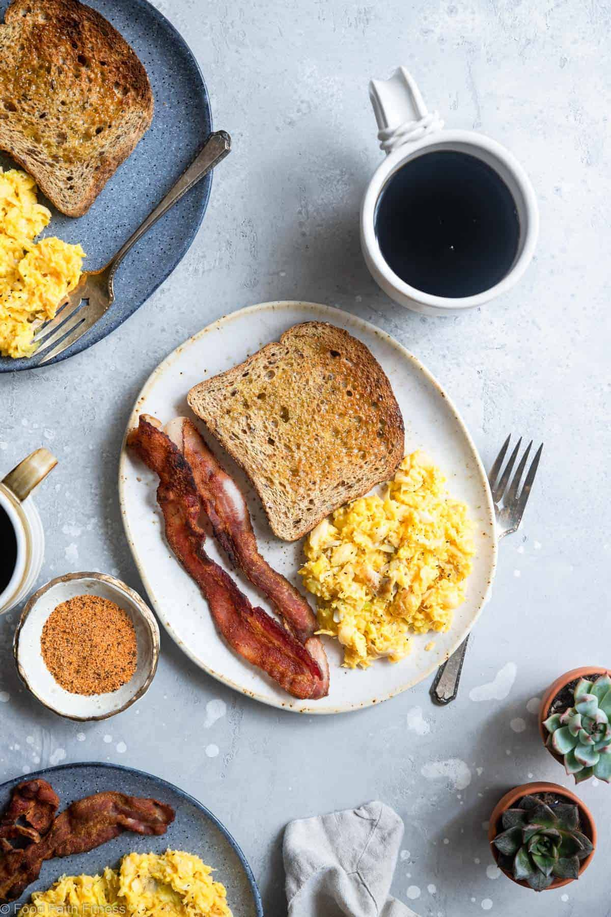 cod scrambled eggs with toast and bacon