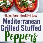 two photos of grilled stuffed peppers