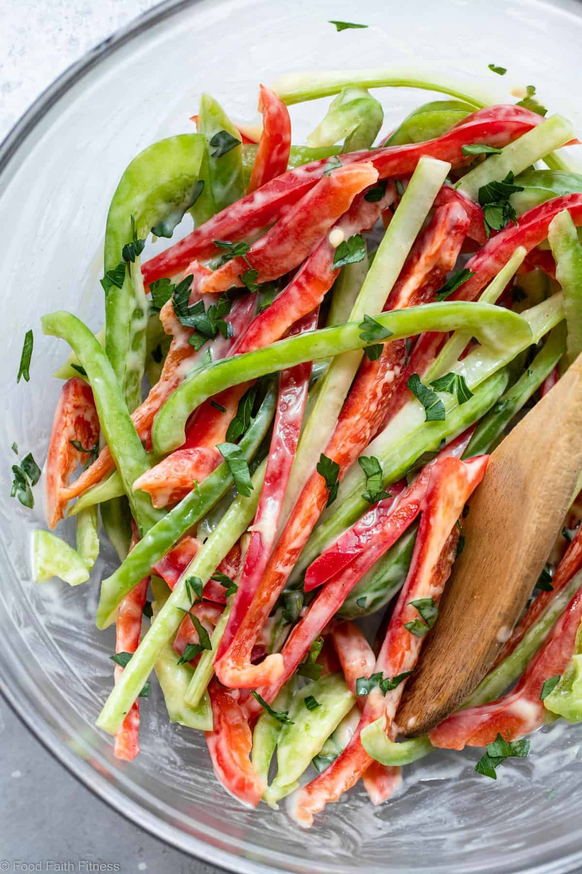 close up of a bell pepper slaw in a bowl