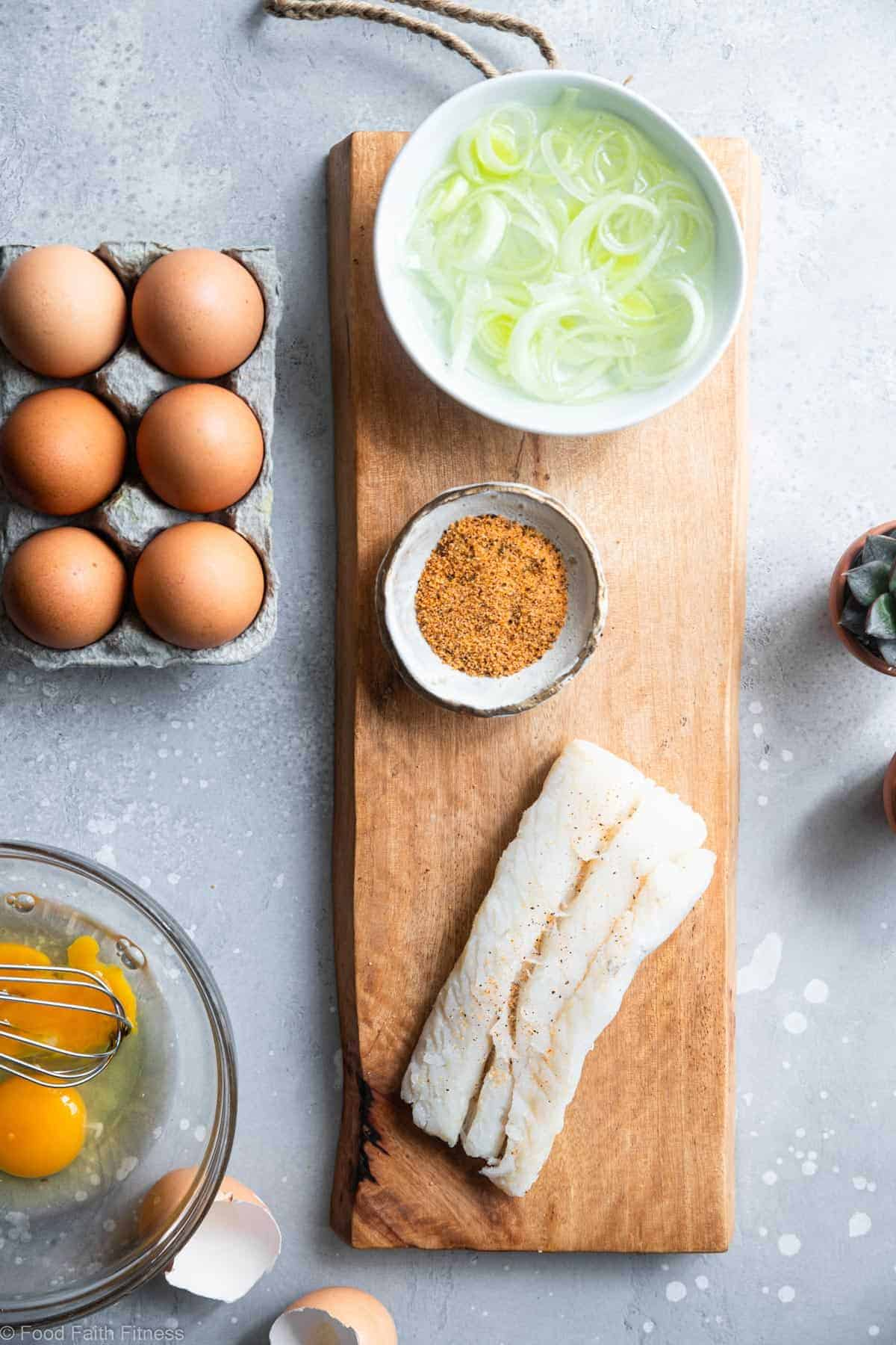 cod and eggs on a cutting board