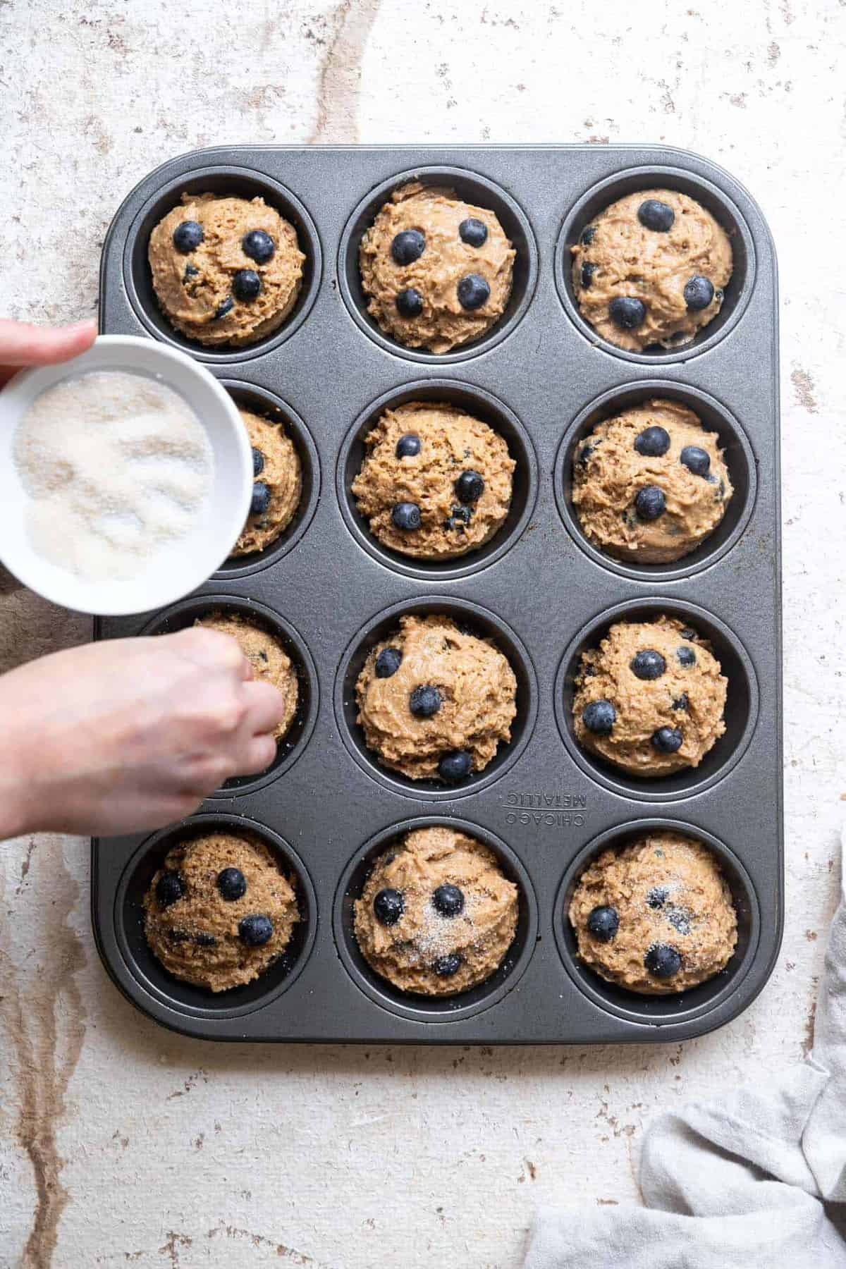 Making a healthy blueberry muffin recipe