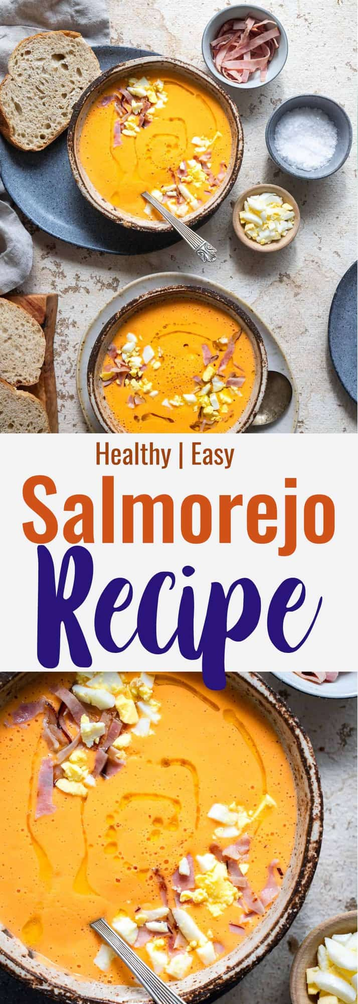 Salmorejo Recipe - Salmorejo is a classic cold tomato soup from Córdoba, Spain. It's made of simple, healthy and fresh ingredients and is so flavorful! | #Foodfaithfitness | #Healthy #Sugarfree #Soup #Dairyfree