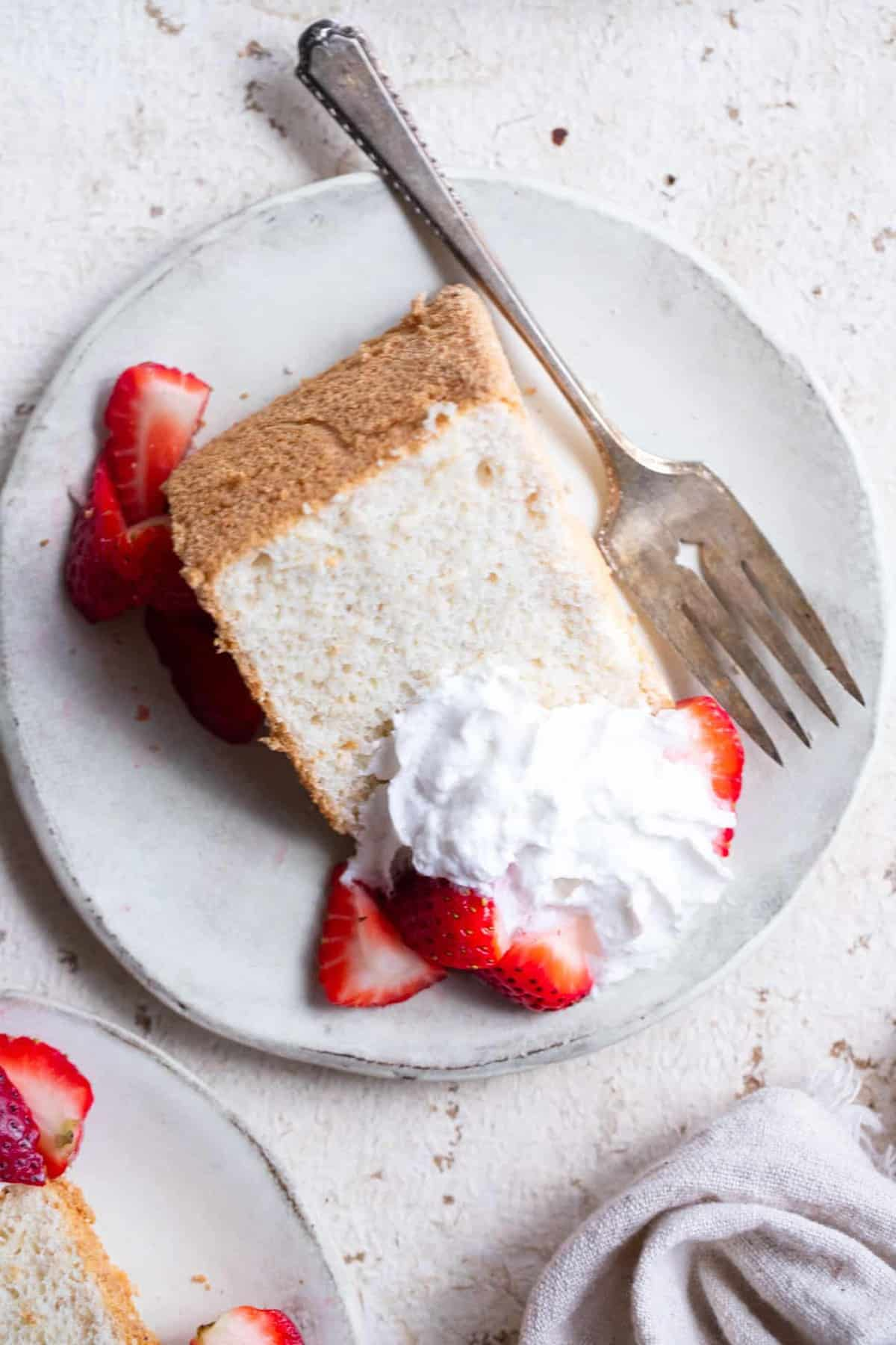 Photo of a healthy angel food cake recipe overhead