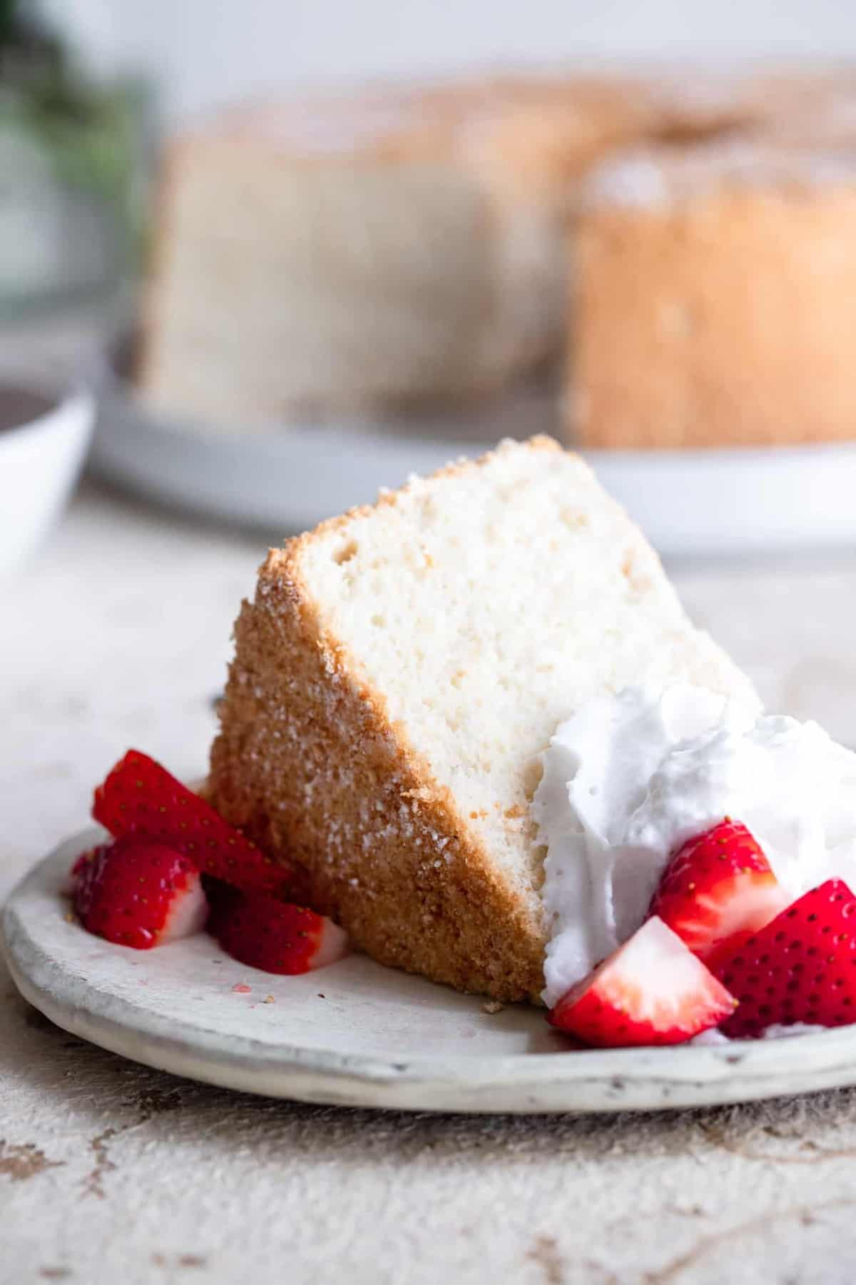 Low Carb Angel Food Cake on a plate
