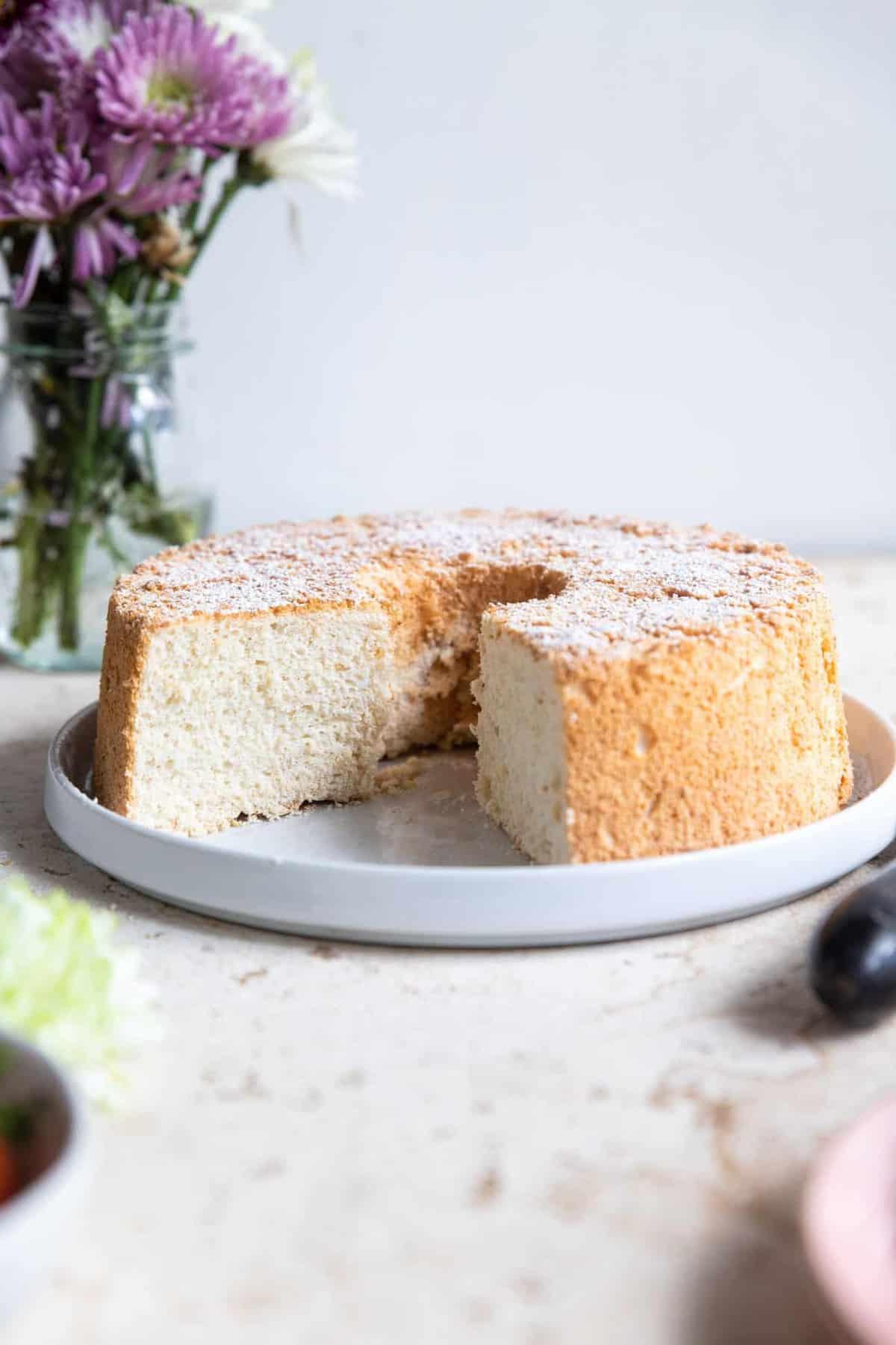Sugar Free Angel Food Cake on a plate