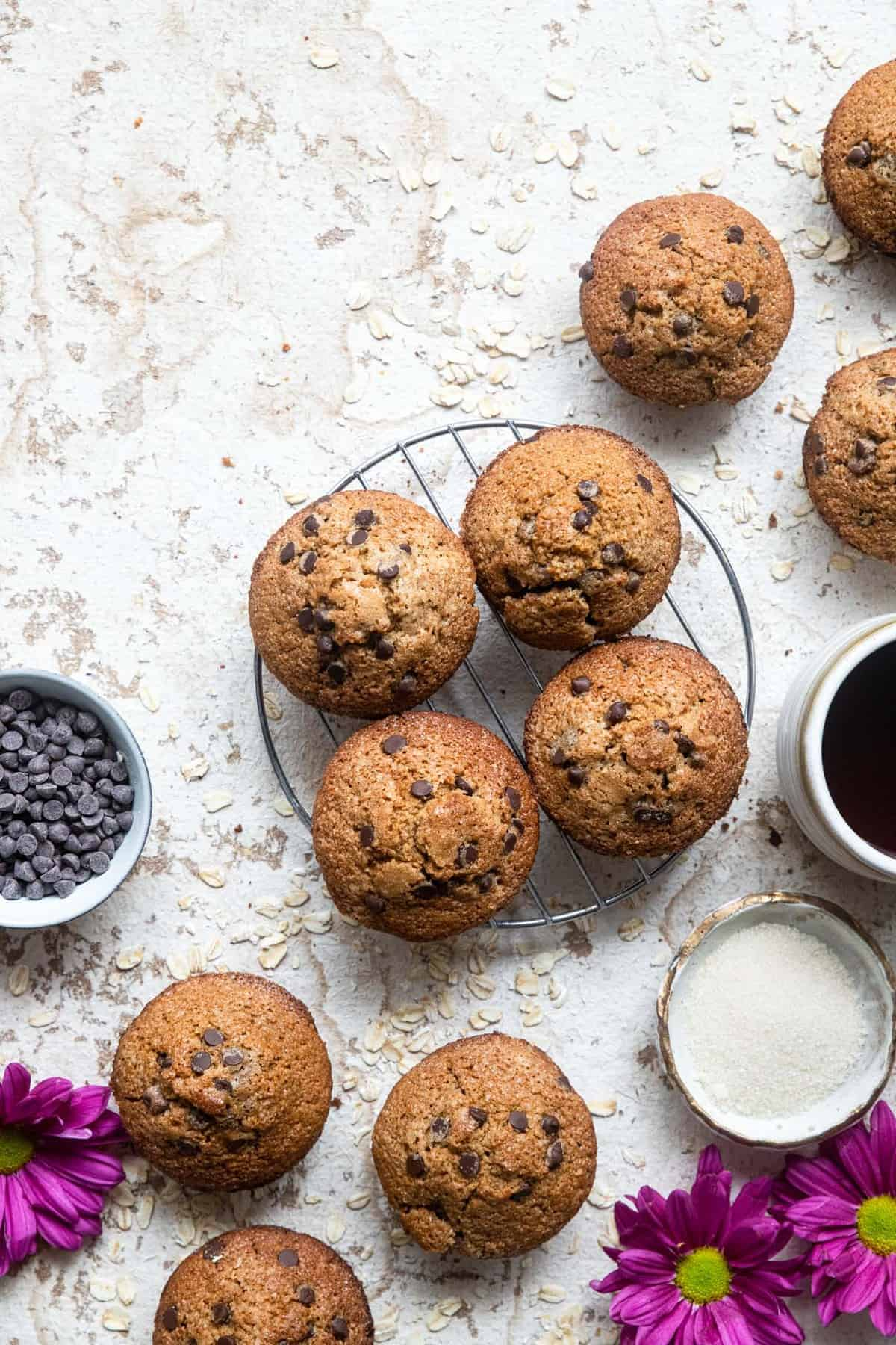 healthy gluten free chocolate chip muffins on a cooling rack