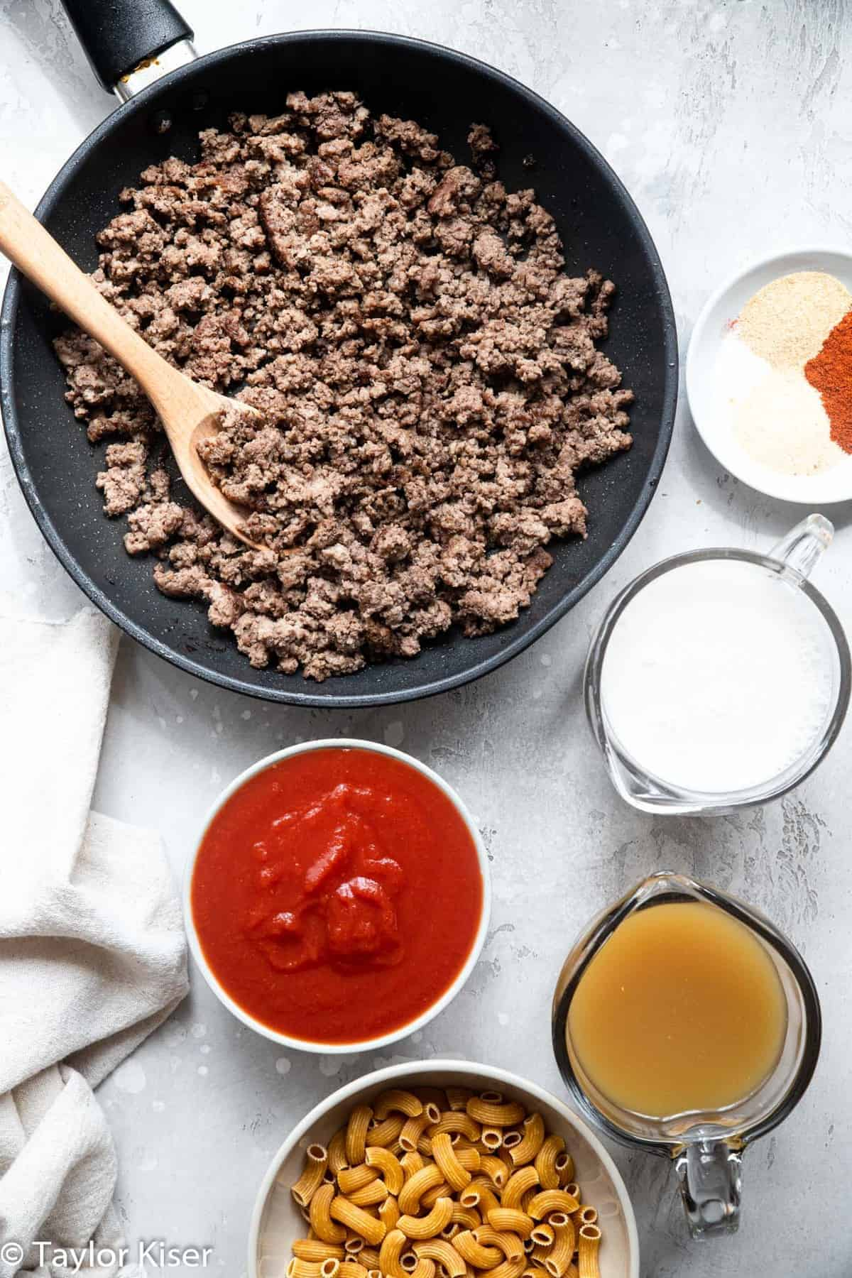 ingredients to make healthy homemade hamburger helper on a table