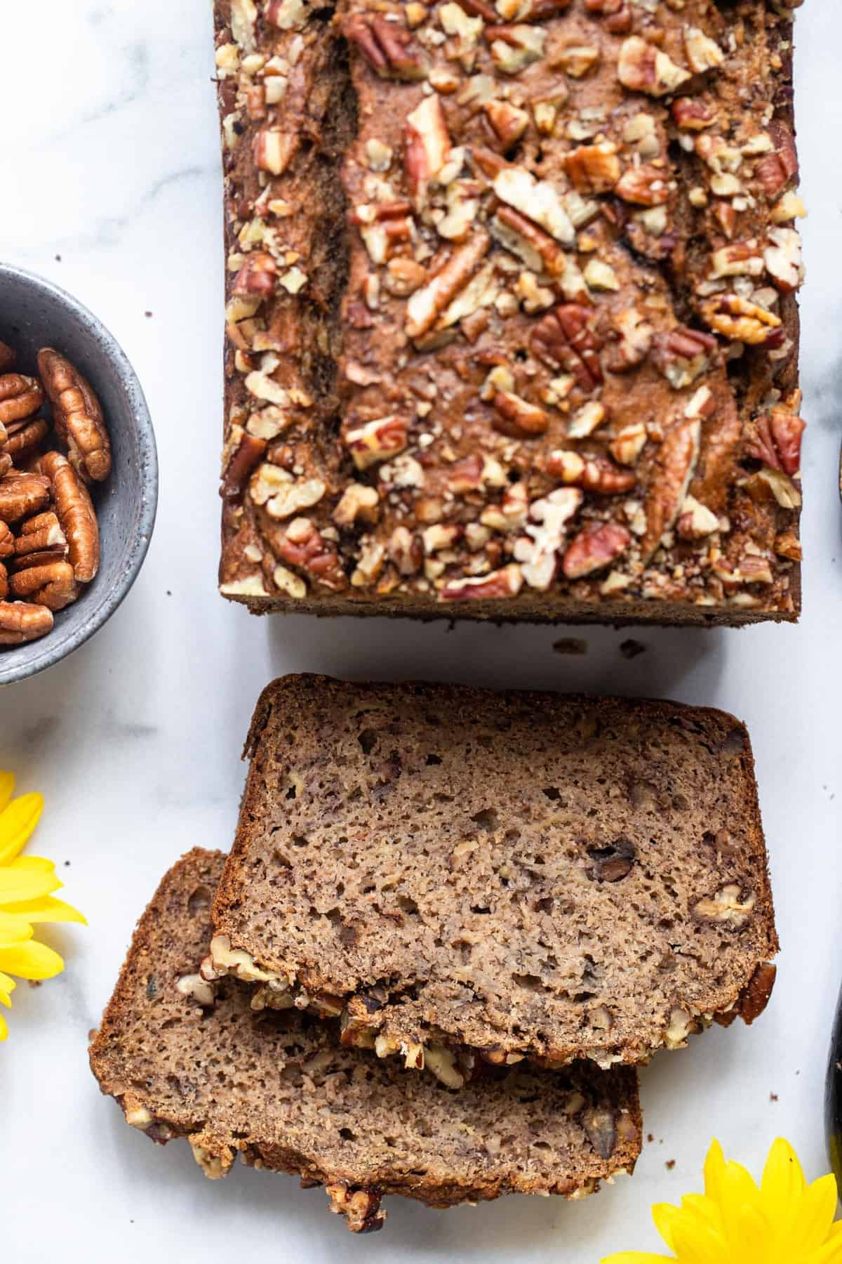 Close up of the top of a no sugar added banana bread sliced