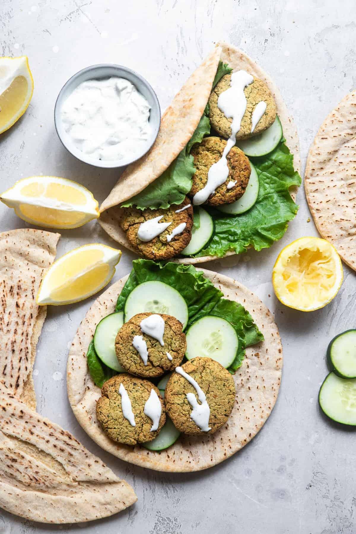 Air fryer falafel on pita bread on a table