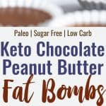 chocolate peanut butter keto fat bombs collage of 2 images