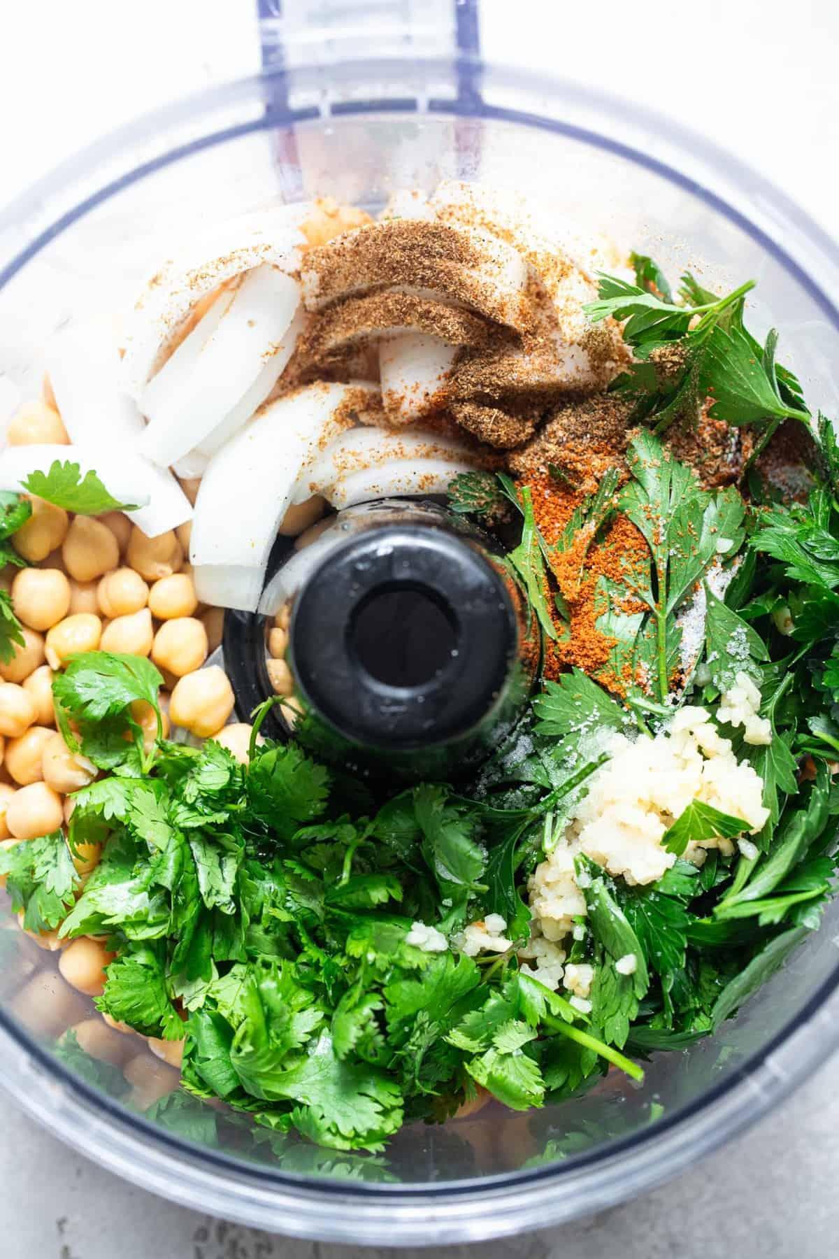 ingredients to make oven baked falafel