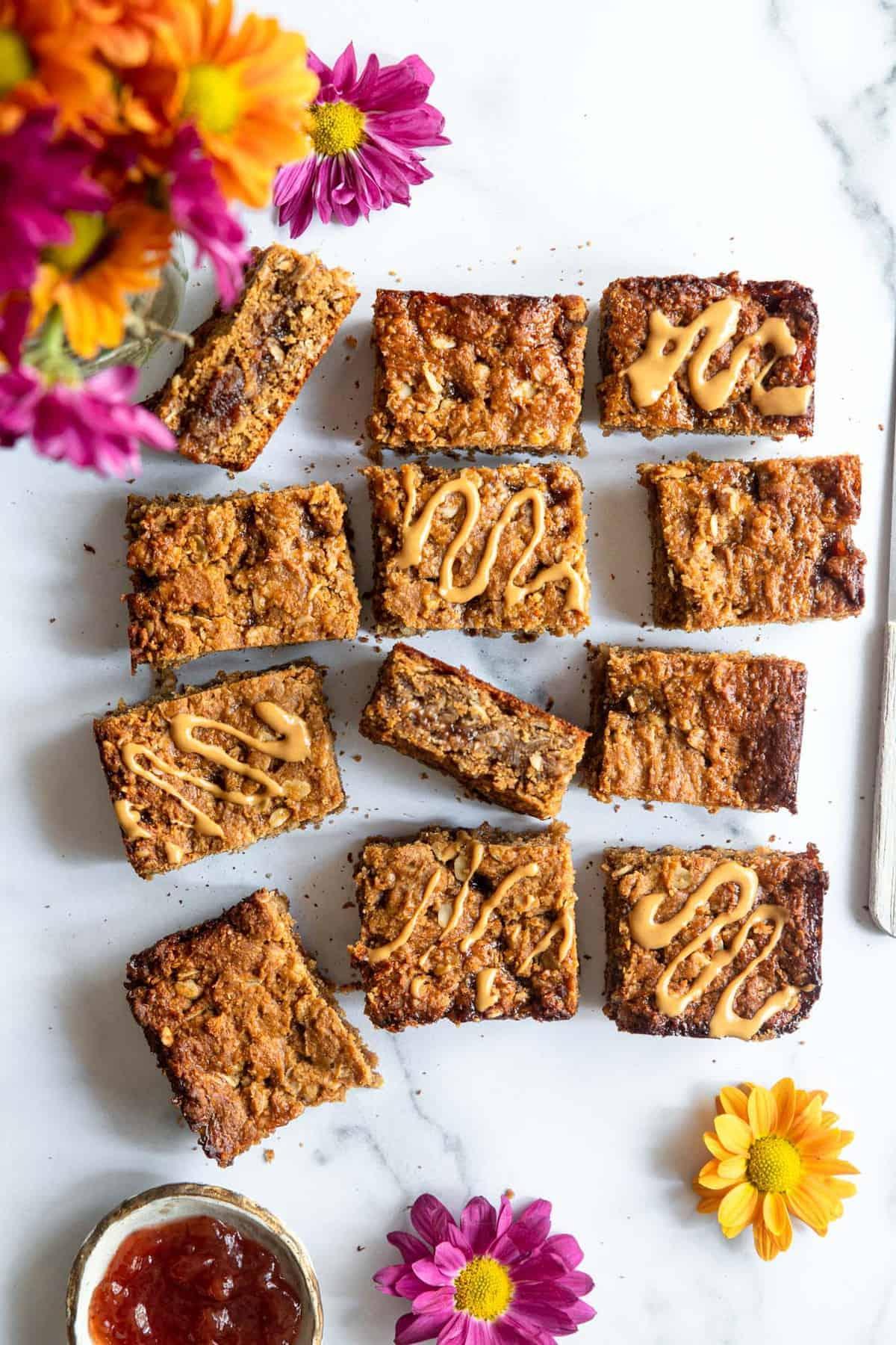 healthy soft oatmeal breakfast bars on a table