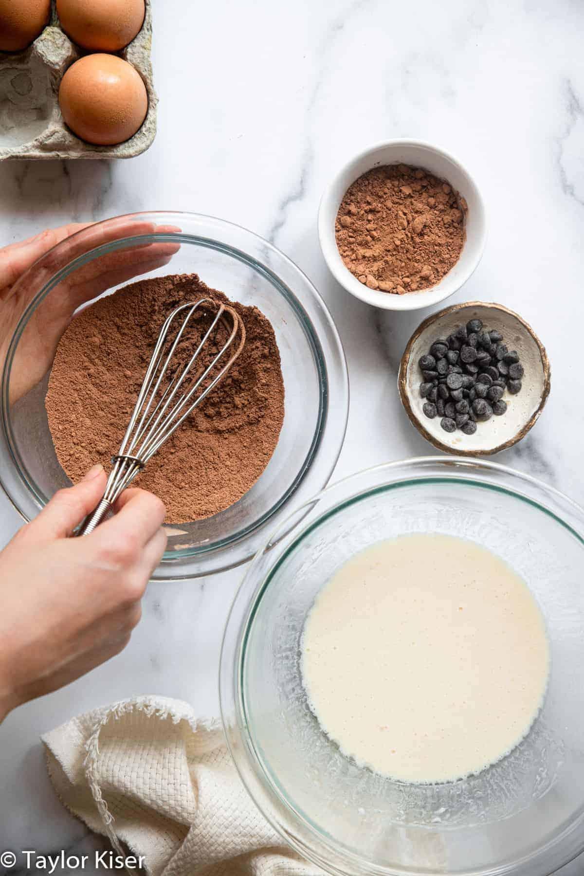 Ingredients to make keto chocolate mug cake in bowls