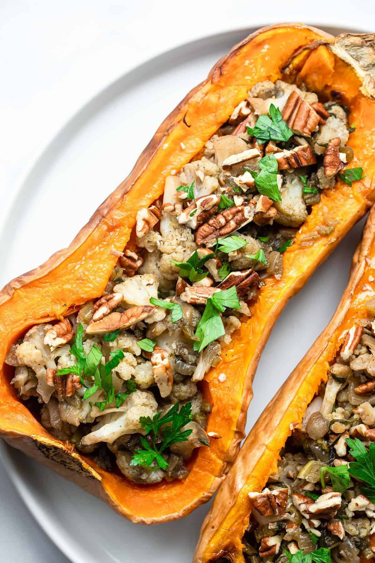 close up of vegan stuffed squash with cauliflower