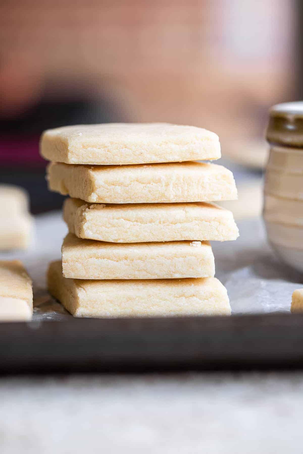 a stack of dairy free vegan shortbread cookies